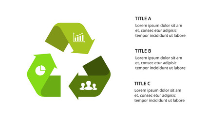 Vector infographic template. Recycle arrows sign. Presentation slide template. Business concept with 3 options, parts, steps, processes.