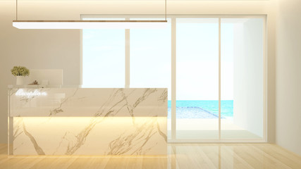 Counter Reception design and swimming pool sea view for hotel or office - Lobby hotel or Information design for Building artwork - 3d Rendering