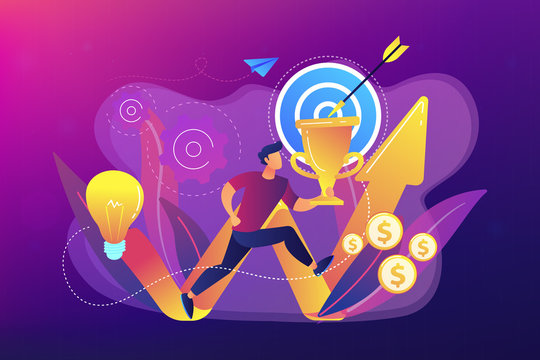 Businessman with trophy and rising arrow. Business mission, mission statement, business goals and philosophies concept on ultraviolet background. Bright vibrant violet vector isolated illustration