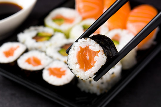 sushi and chopstick on sushi pack background
