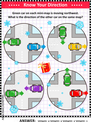Map skills learning and training activity page or workshee, winter on