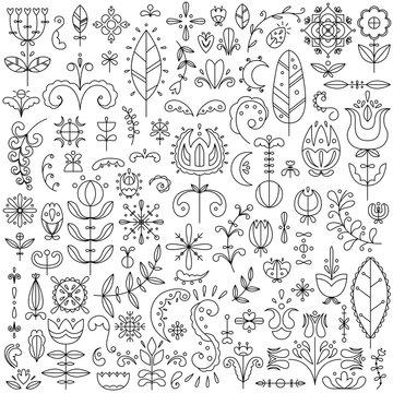 Vector line set of 90 Scandinavian elements. Flowers and doodles.