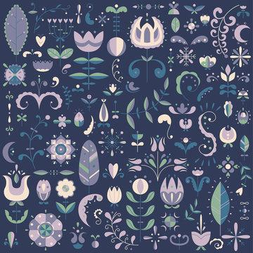 Vector flat set of 90 Scandinavian elements. Flowers and doodles.