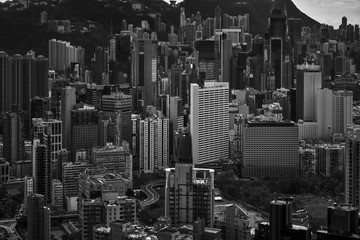 closeup many building cityscape in black and white image