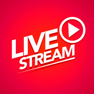 Vector Illustration live streaming logo - red stream design element with play button for news and TV or online broadcasting