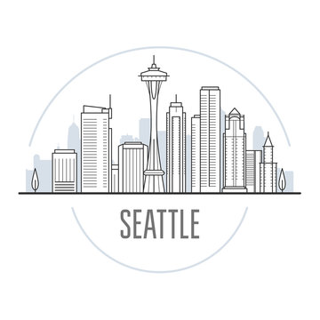 Seattle city skyline - towers and landmarks of Seattle, cityscape