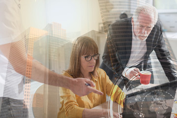 Business people working together, light effect, double exposure
