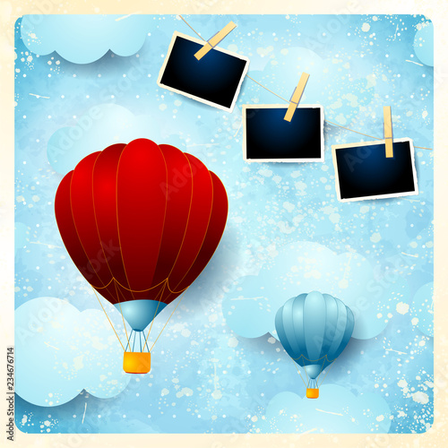 Vintage Card With Hot Air Balloons And Photo Frames Stock Image And