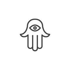 Jewish hamsa hand outline icon. linear style sign for mobile concept and web design. Hamesh simple line vector icon. Judaism symbol, logo illustration. Pixel perfect vector graphics