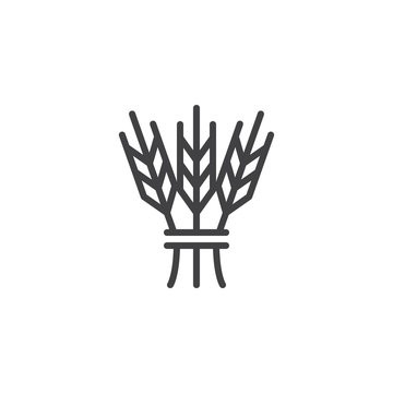 Hebrew cereal outline icon. linear style sign for mobile concept and web design. Israel Barley simple line vector icon. Jewish symbol, logo illustration. Pixel perfect vector graphics