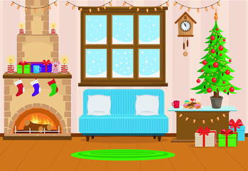 Vector illustration of Christmas living room with Christmas tree, gifts, sofa, table with treats, snow-covered window and fireplace.
