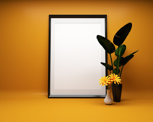 White picture frame on orange background with plant Mock up. 3D rendering