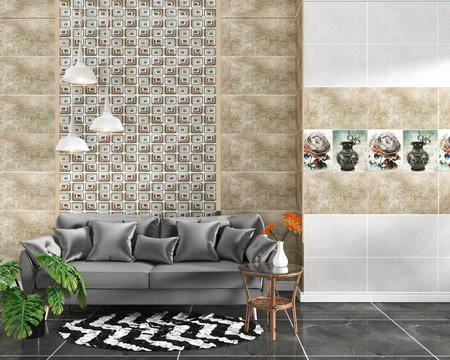 living room interior with tile classic texture wall background on black granite tile floor,minimal designs, 3d rendering.