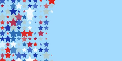 Red, blue, white stars on light blue.