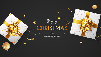 Christmas greeting card. Xmas Banner, poster, background with white gift box and ball. Vector illustration