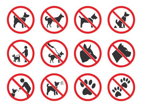 No dogs sign, dog prohibition icons set