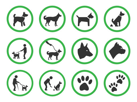 dog friendly sign set, pets allowed icons