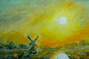 Impressionism oil painting, contemporary style on stretched canvas, palette knife and brush. Rare old windmill abstract rural landscape