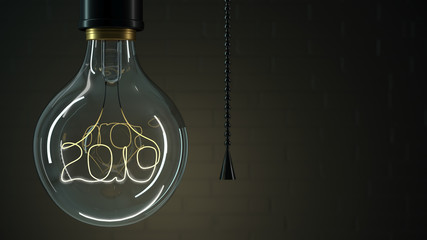 3d illustration. Vintage light bulb 2019. Dark background. Christmas card screen saver. Close-up