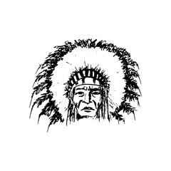 Stylized cartoon sketch North American Indian chief redskin man , face, isolated on white