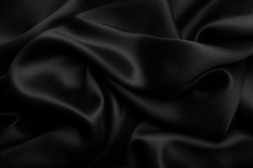 Black satin silk, elegant fabric for backgrounds