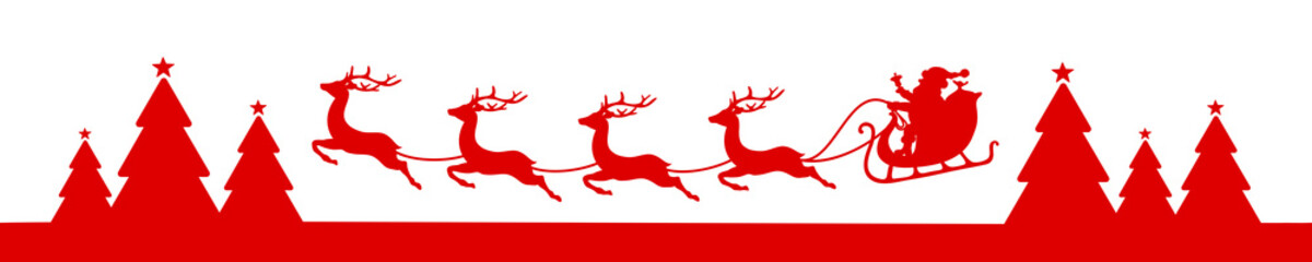 Fototapete - Banner Flying Christmas Sleigh Forest Red
