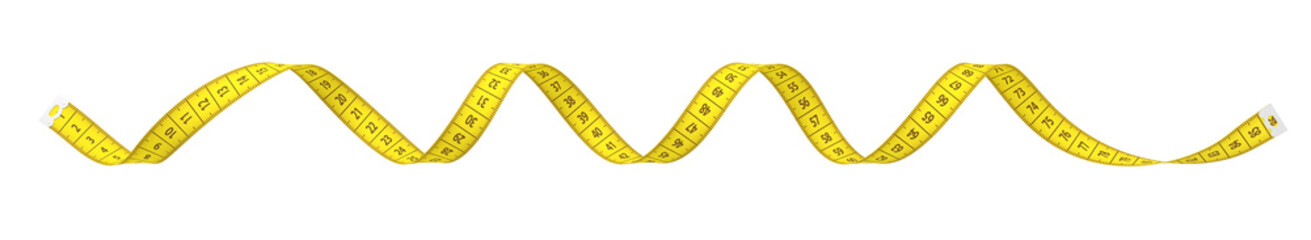 3d rendering of spiral yellow measuring tape isolated on white background.