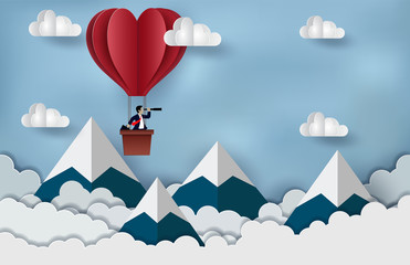 Businessman standing in The hot air balloon red holding binocular. Floating in the sky to goal to achieve success. business Concept. creative idea. illustration of  cloud and mountain. paper art