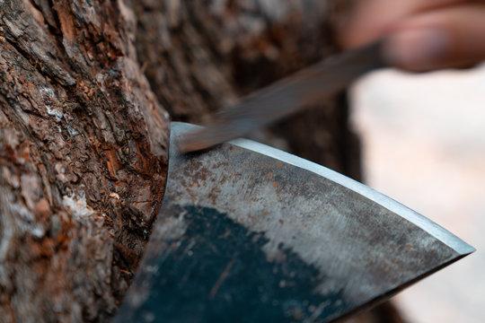 Man sharpening axe blade