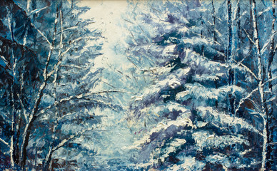 winter landscape. Original oil painting on canvas. Winter theme. Winter forest: trees have a lot of white snow.