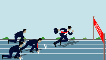 Businessmen run to the finish line to success in business Concept.  Cartoon, vector illustration.