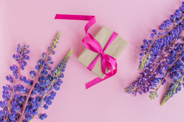 Gift box with lupine flower