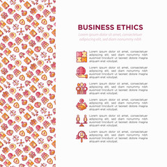 Business ethics concept with thin line icons: union, trust, honesty, responsibility, justice, commitment, no to racism, recruitment service, core values. Vector illustration, print media template.
