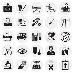 Medicine icon set on circles background icons