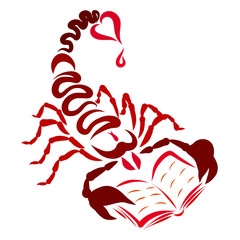 Scorpion with a red heart at the end of the tail and a red drop, a book in claws