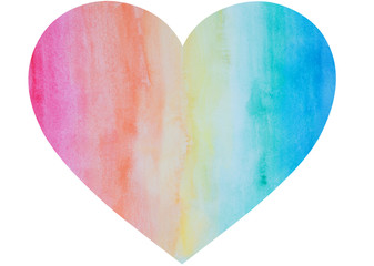 Heart shape hand painted with watercolors in rainbow colors. It has watercolour stains and paper texture.