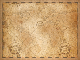 old medieval nautical vintage world map
