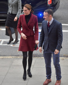 Britain's Catherine, Duchess of Cambridge arrives for a visit to a UCL Developmental Neuroscience Laboratory, in London