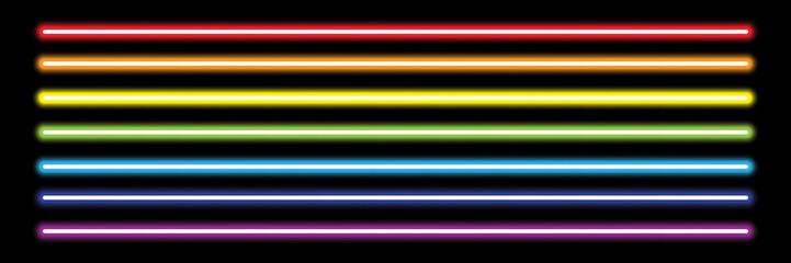 Fototapeta horizontal rainbow neon tube lights on black,vector illustration obraz