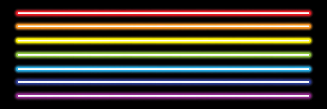 horizontal rainbow neon tube lights on black,vector illustration