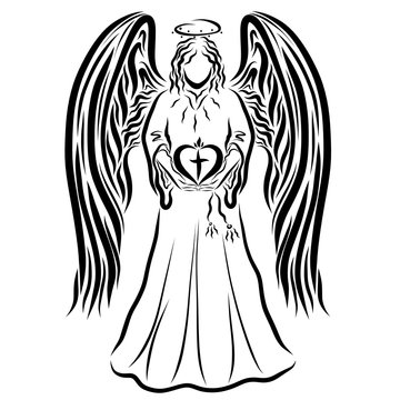 Angel holds heart with a cross and a flame