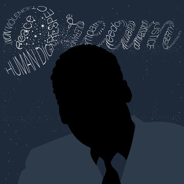 A vector frontal silhouette illustration in the foreground with a typography artwork of the word Dream in the background
