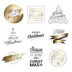 Merry Christmas & Happy New Year Elements Set with Gold Foil