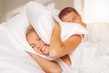 Snoring sleeping couple bed men sound women