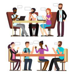 International businesspeople have conversation in different business situations in office. Vector illustration
