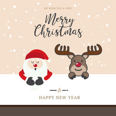 Cute santa and deer with christmas hoilday with hand drawn lettering
