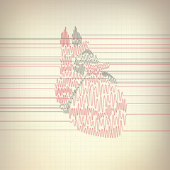 vector of heart cardiogram. Cardiology concept of pulse rate graph combined with heart shape