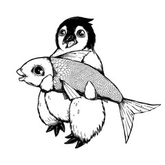 Cute penguin with a big fish. Drawn Animal character. Funny illustration.