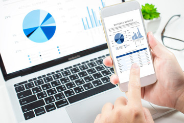 Investors analyze the investment in the market with a financial dashboard on smartphones and computers.