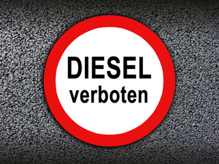 Diesel verboten Straßenschild Asphalt Hintergrund